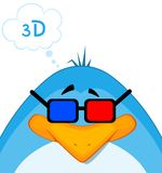 Karikatur-Pinguin in 3d-glasses Stockfoto