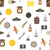 Karikatur-Pirat unterzeichnet nahtlosen Muster-Hintergrund Vektor lizenzfreie abbildung