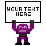 Karikatur-Pixel Art Robot Holding ein Zeichen Stockfotografie