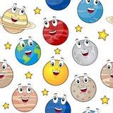 Karikatur-Planeten-nahtloses Muster Stockbilder