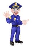 Karikatur-Polizist-Zeigen Stockfoto