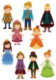 Karikatur-Prinz- und Prinzessinikone Stockbild