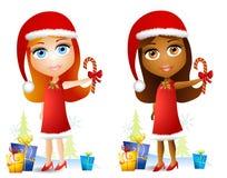 Karikatur-Puppe-Gesichts-Mädchen lizenzfreie abbildung