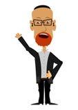 Karikatur-Rabbiner auf einem weißen Hintergrund Lizenzfreie Stockfotos