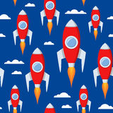 Karikatur-Raum Rockets Seamless Pattern Lizenzfreie Stockfotografie