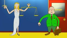 Karikatur-Rechtsanwalt spitzt Skalen von Gerechtigkeit mit Münze Version 1 Für Verbrechen u. Gerechtigkeit Gesetz, Gerichte, Gefä stock abbildung