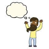Karikatur regte Mann mit Bart mit Gedankenblase auf Stockbilder