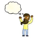 Karikatur regte Mann mit Bart mit Gedankenblase auf Lizenzfreie Stockfotografie