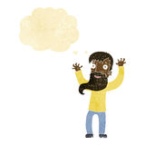 Karikatur regte Mann mit Bart mit Gedankenblase auf Stockbild