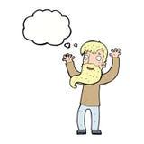 Karikatur regte Mann mit Bart mit Gedankenblase auf Stockfotos