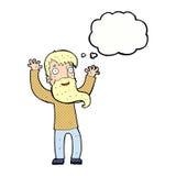 Karikatur regte Mann mit Bart mit Gedankenblase auf Lizenzfreies Stockbild
