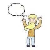 Karikatur regte Mann mit Bart mit Gedankenblase auf Stockfoto