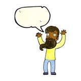 Karikatur regte Mann mit Bart mit Spracheblase auf Lizenzfreies Stockfoto