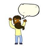Karikatur regte Mann mit Bart mit Spracheblase auf Stockfotografie