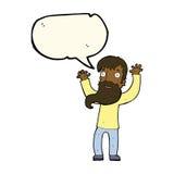 Karikatur regte Mann mit Bart mit Spracheblase auf Lizenzfreie Stockbilder