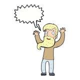 Karikatur regte Mann mit Bart mit Spracheblase auf Stockbild