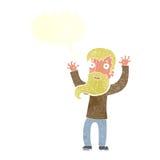 Karikatur regte Mann mit Bart mit Spracheblase auf Lizenzfreie Stockfotografie