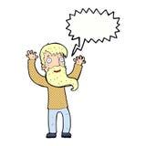 Karikatur regte Mann mit Bart mit Spracheblase auf Stockfotos