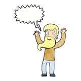Karikatur regte Mann mit Bart mit Spracheblase auf Lizenzfreie Stockfotos