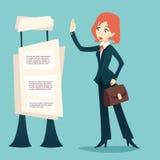 Karikatur-Retro- Weinlese-Geschäftsfrau Caes Character Lizenzfreies Stockbild