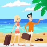 Karikatur-Retro- Weinlese-Mann und weibliche Figuren Lizenzfreies Stockbild