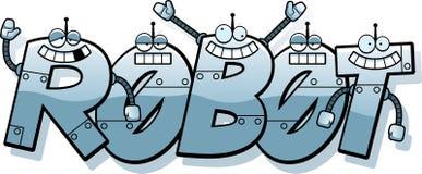 Karikatur-Roboter-Text Stockfotos