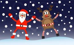 Karikatur-Rotwild und Weihnachtsmann Stockbild
