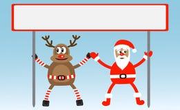 Karikatur-Rotwild und Weihnachtsmann Stockfotografie