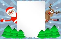 Karikatur-Rotwild und Weihnachtsmann Stockfoto
