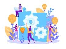 Karikatur-sammeln flache Suchideen-Leute Puzzlespiel vektor abbildung