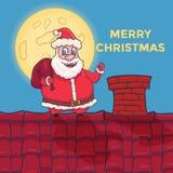 Karikatur Santa Claus Character, die auf Dach steht Vektor Lizenzfreie Stockfotos
