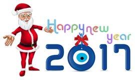 Karikatur Santa Claus Christmas Character Illustration Guten Rutsch ins Neue Jahr-Typografie 2017 Stockfotografie