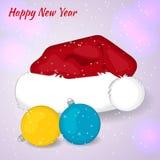 Karikatur-Santa Claus-Hut mit Cristmas-Bällen beim Schneien Cristmas Karte Einladung des neuen Jahres Auch im corel abgehobenen B Lizenzfreie Stockfotos