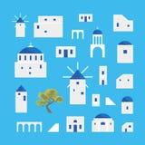 Karikatur Santorini-Insel-Dorf-Ikonen-Satz Vektor vektor abbildung
