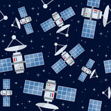 Karikatur-Satelliten-nahtloses Muster Lizenzfreie Stockfotos