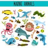 Karikatur-Satz von netten Seetieren und -leben Unterwasser im Wasser der Meere und der Ozeane Haifisch, Fisch, Piranha, Krake, ma Lizenzfreies Stockfoto