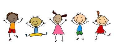 Karikatur scherzt Abbildung Glückliche Kinder Stockzahl Kinder Lizenzfreies Stockbild