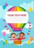 Karikatur scherzt das Reiten eines Heißluftballons mit Textraum stock abbildung