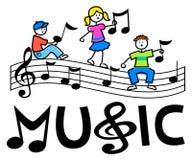 Karikatur scherzt musikalischen Stab Lizenzfreies Stockbild
