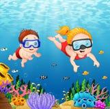 Karikatur scherzt unter Wasser tauchen stock abbildung