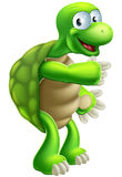Karikatur-Schildkröten- oder Schildkrötezeigen Stockfoto