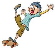 Karikatur-Schlittschuhläuferfallen seines Skateboards. Lizenzfreie Stockfotos