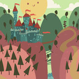Karikatur-Schloss auf einem Hügel Stockfoto