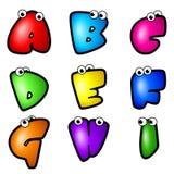 Karikatur-Schrifttyp Type_Letter A bis I Stockfotografie