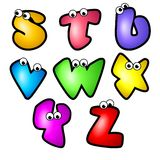 Karikatur-Schrifttyp Type_Letter S bis Z Lizenzfreies Stockfoto