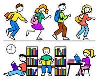 Karikatur-Schule scherzt Bibliothek Stockbilder