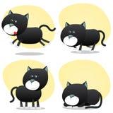 Karikatur-schwarze Katze-Set Stockbilder