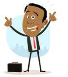Karikatur-schwarzer Geschäftsmann Stockfotografie