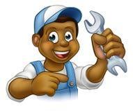 Karikatur-schwarzer Klempner Mechanic oder Heimwerker Stockfotos