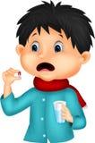 Karikatur Sicked-Junge schluckt Pille Stockbilder